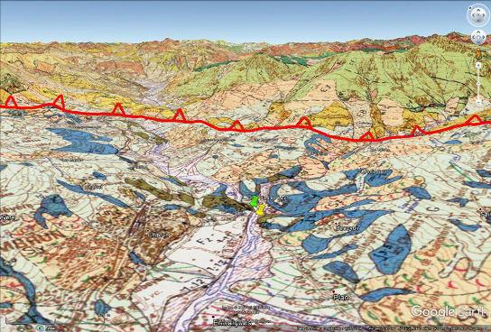 Vue aérienne à fond géologique du Val Durance en amont d'Embrun (Hautes Alpes), ville située dans le quart inférieur gauche de l'image