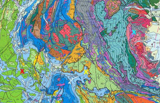 Localisation de la zone d'Embrun (croix jaune, sous le centre de l'image) sous le Chevauchement Pennique Frontal