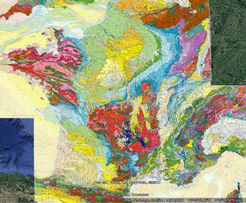 Localisation de la région d'Embrun (Hautes Alpes) sur la carte géologique de France