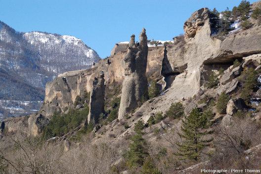 Figures d'érosion dans la terrasse fluvio-glaciaire portant la citadelle Vauban de Mont-Dauphin (Hautes-Alpes)