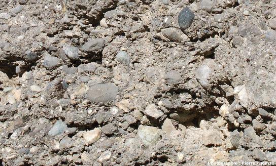 Gros plan sur la couche de poudingue à gros galets située au centre de l'image précédente