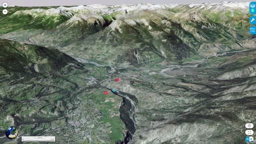 Vue aérienne 3D, depuis l'Est, du secteur de Mont-Dauphin (M), du plateau du Simoust (PS) et de la vallée du Guil (G)