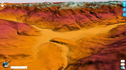 Carte du relief 3D, vue depuis l'Est, du secteur de Mont-Dauphin (M), du plateau du Simoust (PS) et de la vallée du Guil (G)