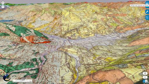Carte géologique 3D, vue depuis l'Est, du secteur de Mont-Dauphin (M), du plateau du Simoust (PS) et de la vallée du Guil (G)