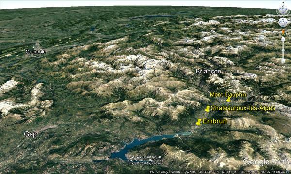 Localisation des terrasses de Mont-Dauphin, de Chateauroux-les-Alpes et d'Embrun dans la moyenne vallée de la Durance dans les Alpes