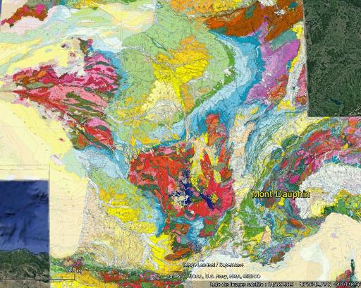 Localisations des terrasses de la moyenne Durance sur la carte géologique de la France