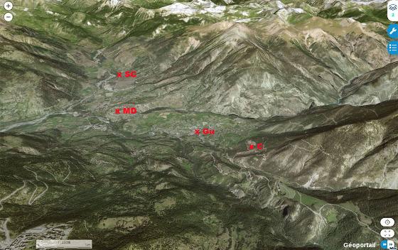 Vue aérienne de la région de Guillestre