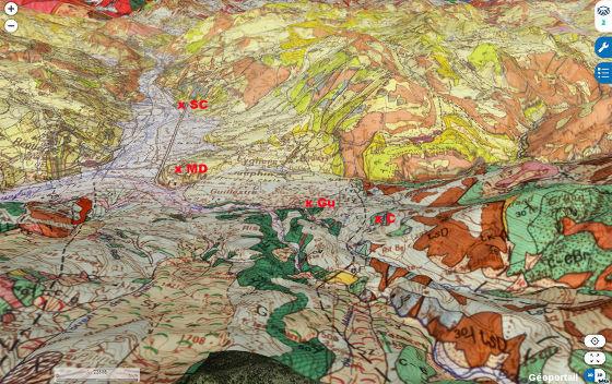 Vue aérienne géologique de la région de Guillestre