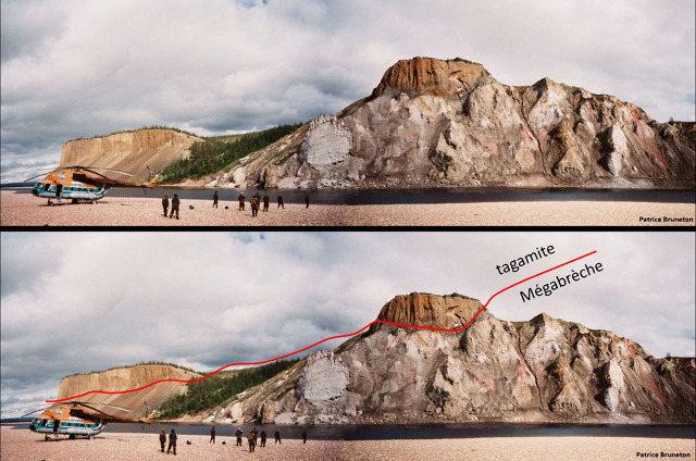 Mosaïques, brute et interprétée, d'un large secteur des falaises des Motley Rocks, cratère de Popigai, Sibérie