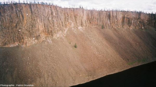 Vue d'hélicoptère de falaises de tagamite, astroblème de Popigai, Sibérie