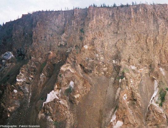 Zoom sur le contact tagamite/méga-brèche, astroblème de Popigai, Sibérie