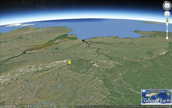 Vue satellite de la région de l'astroblème de Popigai, Sibérie