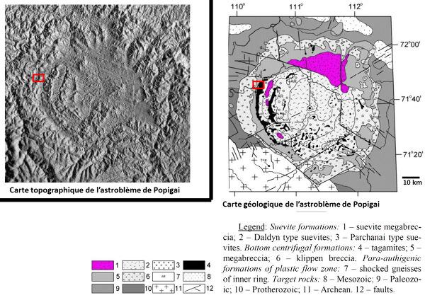 Cartes, topographique et géologique simplifiée, approximativement à la même échelle de l'astroblème de Popigai, Sibérie