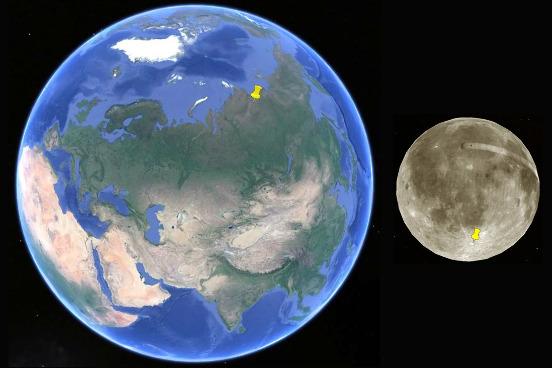Localisation du cratère de Popigai en Sibérie et de Tycho au Sud de la face visible de la Lune