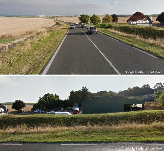 Deux vues sur la campagne rémoise, prises dans deux directions perpendiculaires depuis le même endroit