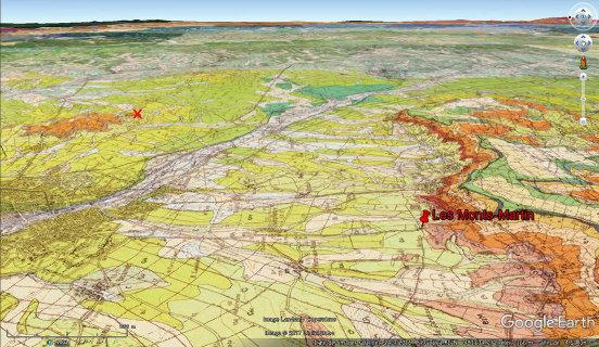 """Vue aérienne """"géologique"""" correspondante montrant le Sud de l'agglomération rémoise (à gauche)"""