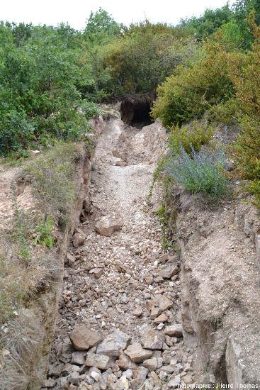 Vue d'ensemble sur un filon de barytine partiellement évidé se continuant par une galerie et une tranchée dans le secteur minier de Lantignié (Beaujolais, Rhône)