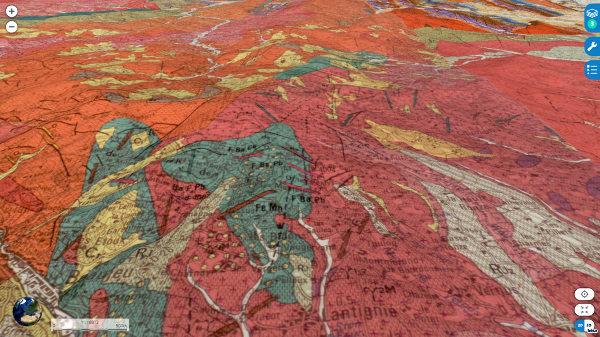 Vue aérienne oblique du secteur de Beaujeu et de Lantignié, sur fond de carte géologique de Beaujeu au 1/50000