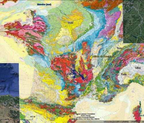 Localisation des mines du Beaujolais sur la carte géologique de France au millionième