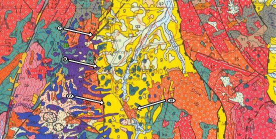 Contexte géologique des quatre gisements de barytine dont proviennent les échantillons présentés ici, au voisinage immédiat des failles de la Limagne