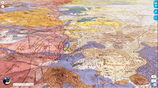 Contexte géologique du gisement du Puy Chateix (ellipse bleue), à Royat, Puy de Dôme