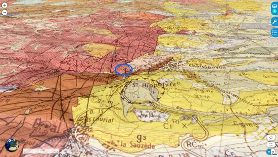 Contexte géologique du gisement de la vallée de Sans-Souci (ellipse bleue), près de Chatel Guyon