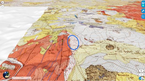Contexte géologique du gisement de Saint Babel (ellipse bleue)