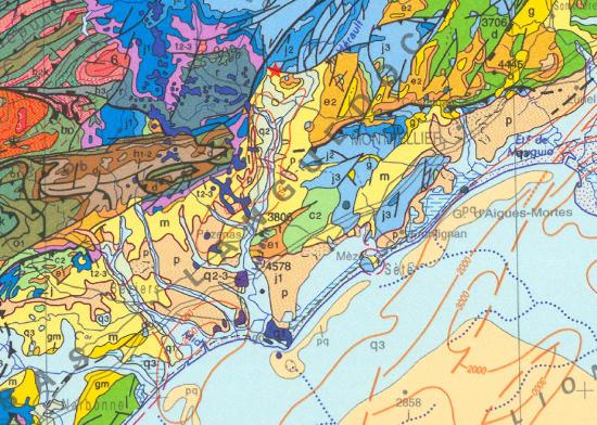 Contexte géologique de la faille d'Arboras sur fond de carte au millionième