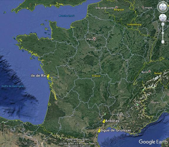 Localisation, en France, d'Arboras, de l'ile de Ré et de Gruissan