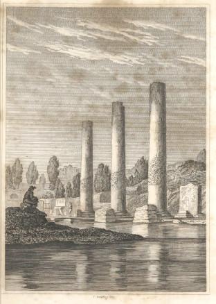 Gravure représentant les colonnes du «temple de Sérapis» ou Macellum di Pozzuoli, Italie