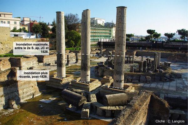 Interprétation des différentes phases de subsidence enregistrées par les colonnes du «temple de Sérapis», Pouzzoles, Italie