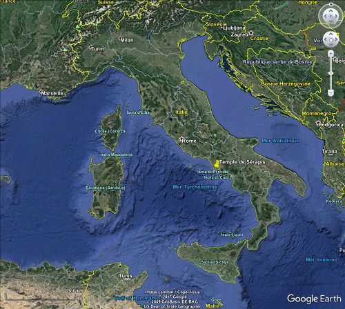 Localisation du temple de Sérapis (Pouzzoles) en Italie