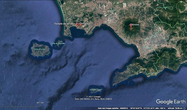 Localisation des sites mentionnés, temple, solfatare et Vésuve, près de Naples (Italie)