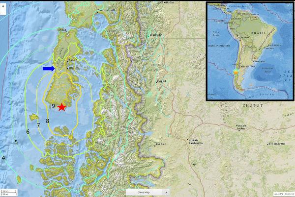 Carte de l'ile de Chiloé sur la côte du Chili