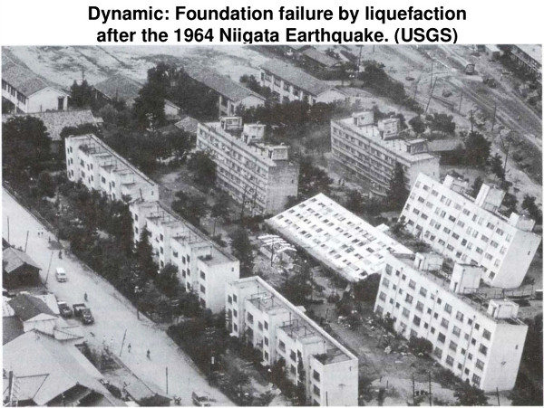 Exemple de dégâts causés par la liquéfaction du sous-sol lors du tremblement de terre de Niigata, Japon (1964)