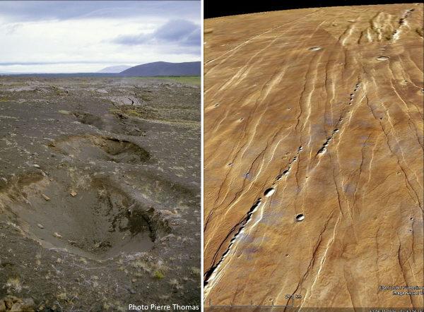 Exemples terrestre et martien d'entonnoirs de soutirage alignés, analogies probables de grande taille des alignements d'entonnoirs des figures précédentes