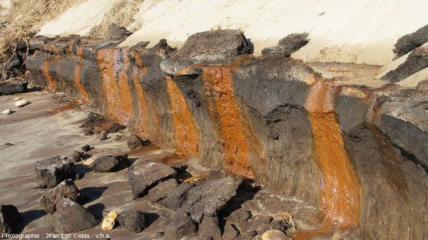 Coulées d'eau ferrugineuse contenant des ions ferreux (Fe2+) et une suspension d'hydroxydes ferriques (Fe3+) de couleur rouille, sur une plage des Landes
