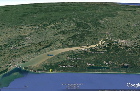 Localisation des plages de Grayan-et-l'Hôpital, Vensac, et Vendays-Montalivet sur le littoral gascon au Sud de la Gironde