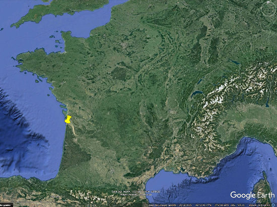 Localisation, en France, des plages de Grayan-et-l'Hôpital, Vensac, et Vendays-Montalivet