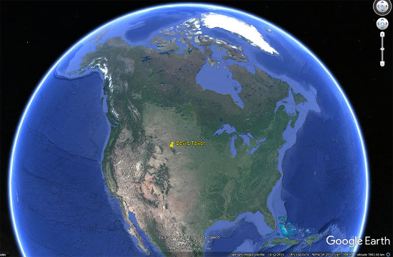 Localisation de la Tour du Diable, Devils Tower, en Amérique du Nord