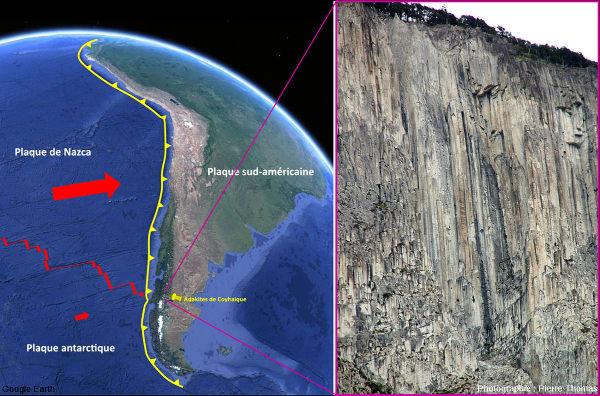 Très beaux prismes volcaniques de plus de 150m de haut (les sapins en haut de la falaise donnent l'échelle) dans la région de Coyhaique, Patagonie chilienne