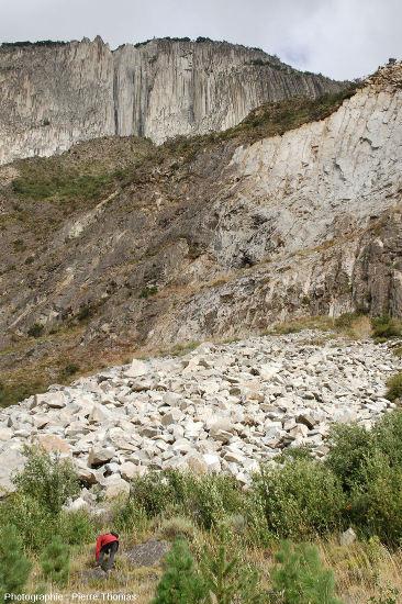 Éboulis d'adakites, Coyhaique, Chili, où ont été prélevés les échantillons des figures suivantes