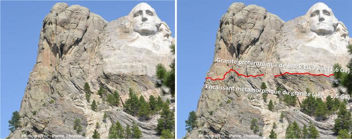 Extrémité Ouest de la célèbre falaise du Mont Rushmore dans les Black Hills, près de Rapid City dans le Dakota du Sud (USA), falaise connue pour les visages sculptés de quatre présidents américains
