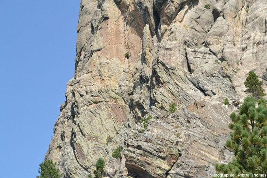 Zoom sur la limite granite/encaissant à l'Ouest de la falaise du Mont Rushmore (Dakota du Sud, USA)