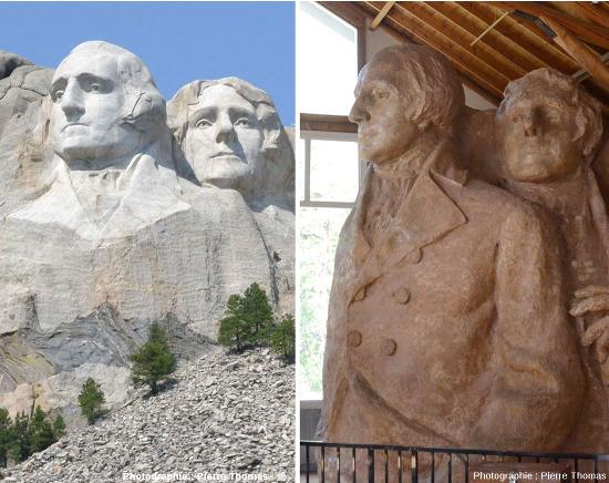 Mise en vis-à-vis à la même échelle et (presque) avec la même orientation des parties gauches de la sculpture finale et de la maquette (Washington et Jefferson), Mont Rushmore (USA)