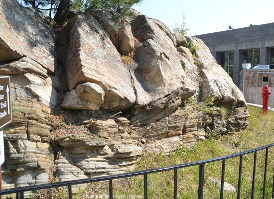 Affleurement, situé juste entre le Centre d'information et l'Allée des drapeaux du Mount Rushmore National Memorial, exposant dans d'excellentes conditions la limite granite (en haut) / micaschistes (en bas)