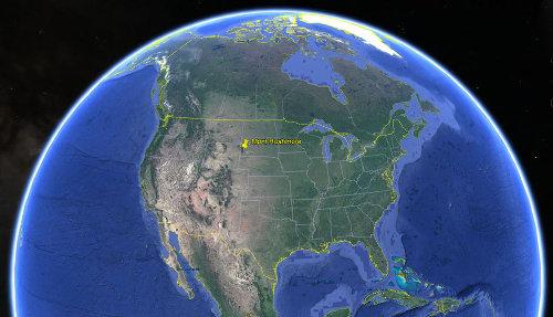 Localisation du Mont Rushmore, au Sud-Est du Dakota du Sud (USA)