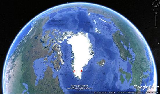"""Localisation des points d'""""entrée"""" et de """"sortie"""" la traversée du Groenland (punaises rouges) pour un avion de ligne effectuant le trajet Paris-Détroit-Phoenix"""