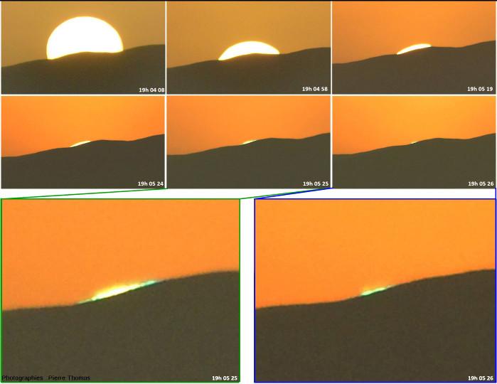 Montage photographique montrant le rayon vert lors d'un coucher de soleil le 27 octobre 2017 dans le désert du Namib, en Namibie