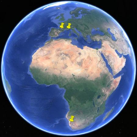 Localisation des sites où ont été pris les couchers de soleil: Namibie, Hautes Pyrénées et Var